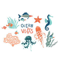 marine wildlife hand drawn flat set ocean vibes vector image