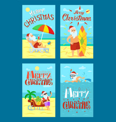 merry christmas santa claus lying sunbed surfboard vector image