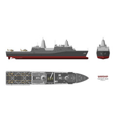 military ship top front and side view vector image