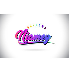 Niamey welcome to word text with creative purple vector