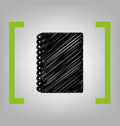 notebook simple sign black scribble icon vector image