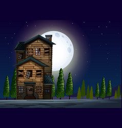 old wooden house on fullmoon night vector image