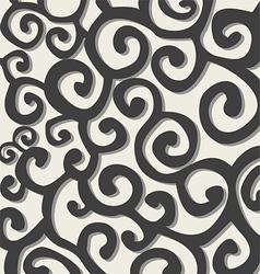Pattern with dark grey stylish spiral curls vector image
