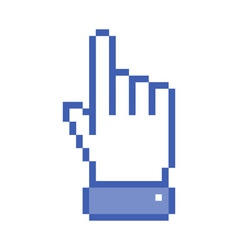 Pixel blue hand pointer vector