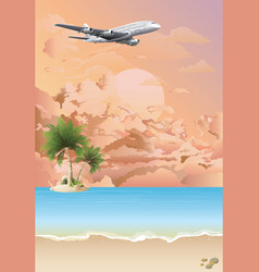 Plane flying over tropical landscape at dawn vector