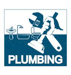 Plumbing repair with a wrench in his hand vector