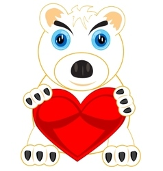 Polar bear with heart vector