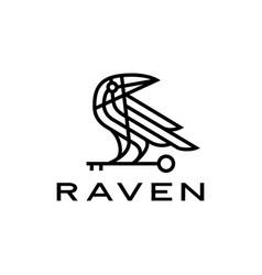 Raven crow key black bird monoline line logo icon vector