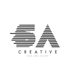 sa s a zebra letter logo design with black and vector image