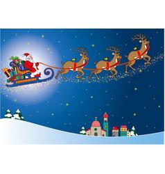Santa claus aboard his sleigh full of gift packs vector