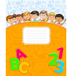 school yellow notebook with cute funny kids vector image
