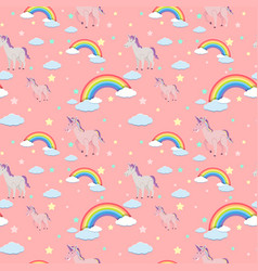 Seamless background with unicorns and rainbows vector