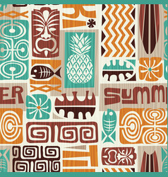 Seamless tropical tiki pattern vector