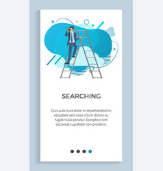 searching male standing on ladder binoculars vector image