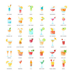 Set flat icons coctails vector