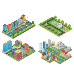 set isolated 3d isometric realistic cartoon vector image