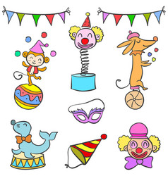 Set of circus element doodles vector