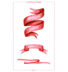 set watercolor ribbons vector image