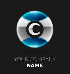 Silver letter c logo symbol in silver-blue circle vector