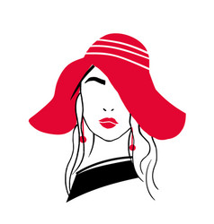 simple outline portrait of beautiful stylish young vector image