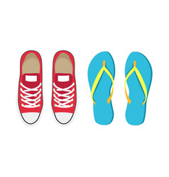 sneakers and flip-flops set vector image