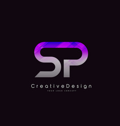 Sp letter logo design purple texture creative vector
