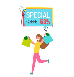 Special offer promo sticker happy woman shopping vector
