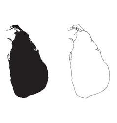 Sri lanka country map black silhouette vector