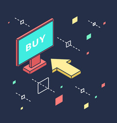 Store online in isometric view for vector