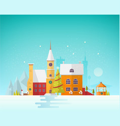 street of small european city or town at christmas vector image