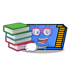 Student with book memory card mascot cartoon vector