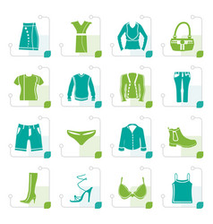 stylized clothing and dress icons vector image