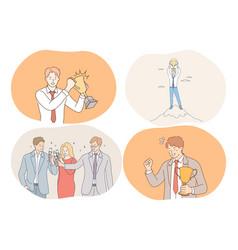 success agreement business celebration vector image
