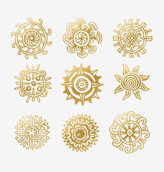 sun icon set yellow star icons collection vector image