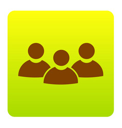 team work sign brown icon at green-yellow vector image