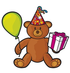 Teddy bear toy with gift box vector