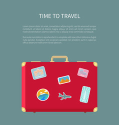 time to travel luggage with sticker poster vector image