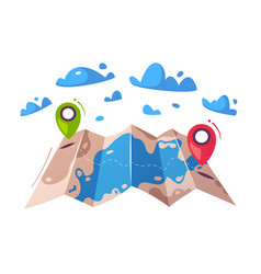 travel concept router in a map cartoon vector image