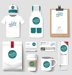 Uniform restaurant cafe set flyer menu package vector
