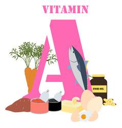 Vitamin a healthy nutrient rich food vector