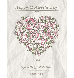 White card with heart of flowers for Mothers Day vector image