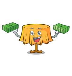 With money bag table cloth mascot cartoon vector