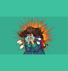 Woman sneezes symptoms disease novel vector