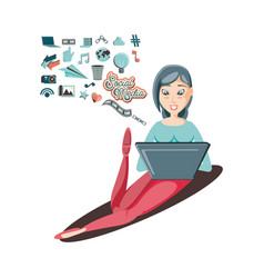 woman with laptop social media icons vector image