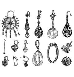 Women jewelry earrings vintage handmade vector