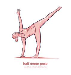 yoga half moon pose ardha chandrasana asana vector image