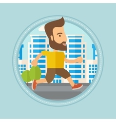 Young man running in the city vector image