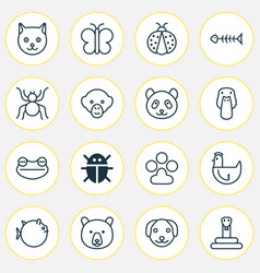Zoology icons set collection puppy ladybird vector