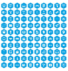 100 website icons set blue vector image vector image