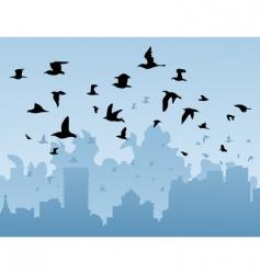 birds over a city vector image vector image